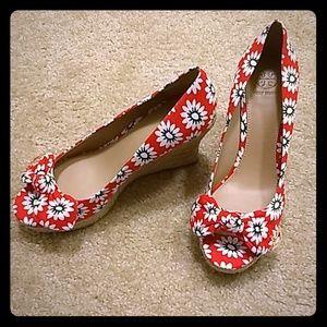 Tory Burch Dory Nantucket Peep Toe Wedge Sandals